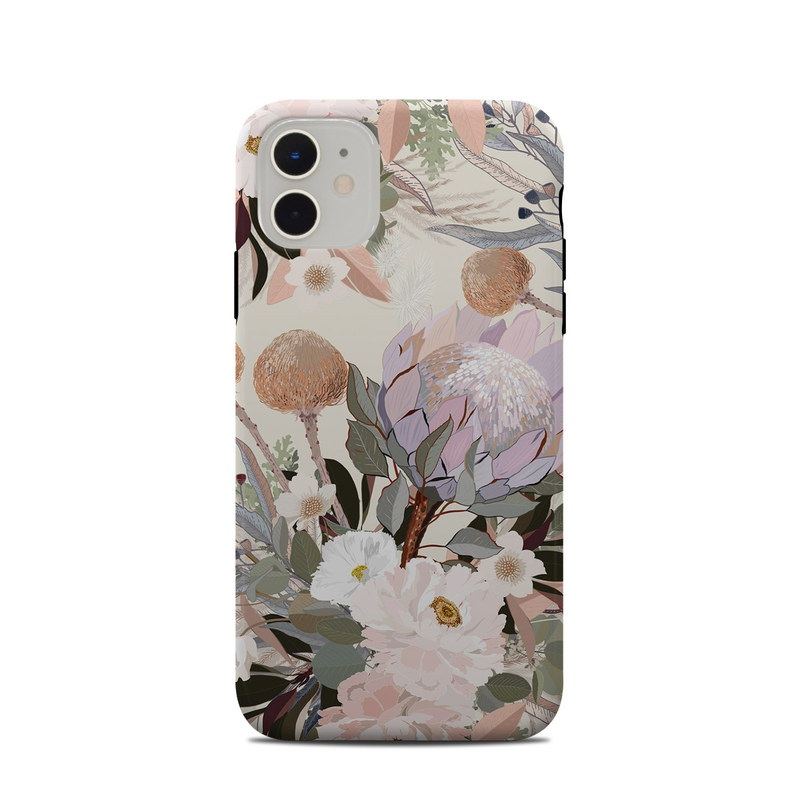 iPhone 11 Clip Case design of Flower, Floral design, Watercolor paint, Plant, Spring, Branch, Flower Arranging, Lilac, Floristry, Petal with pink, purple, green, brown, white, yellow, black colors