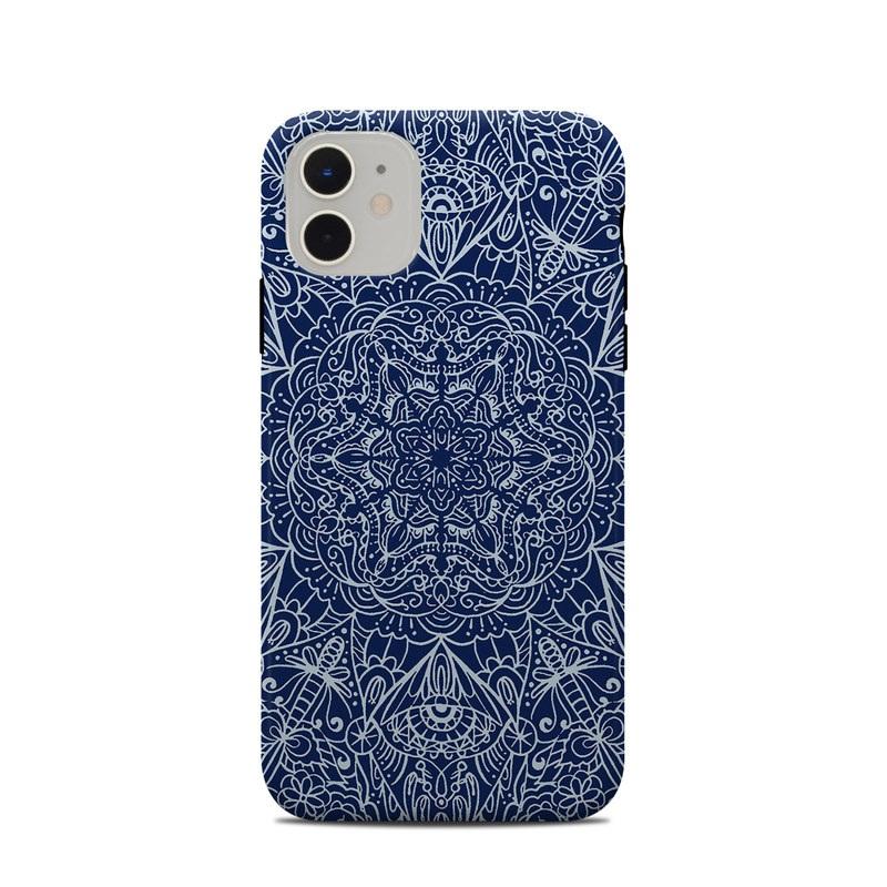 iPhone 11 Clip Case design of Blue, Pattern, Azure, Cobalt blue, Design, Textile, Electric blue, Wallpaper, Symmetry with blue, white colors