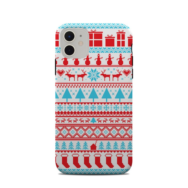 iPhone 11 Clip Case design of Pattern, Textile, Line, Design with pink, white, red, gray, purple, blue colors