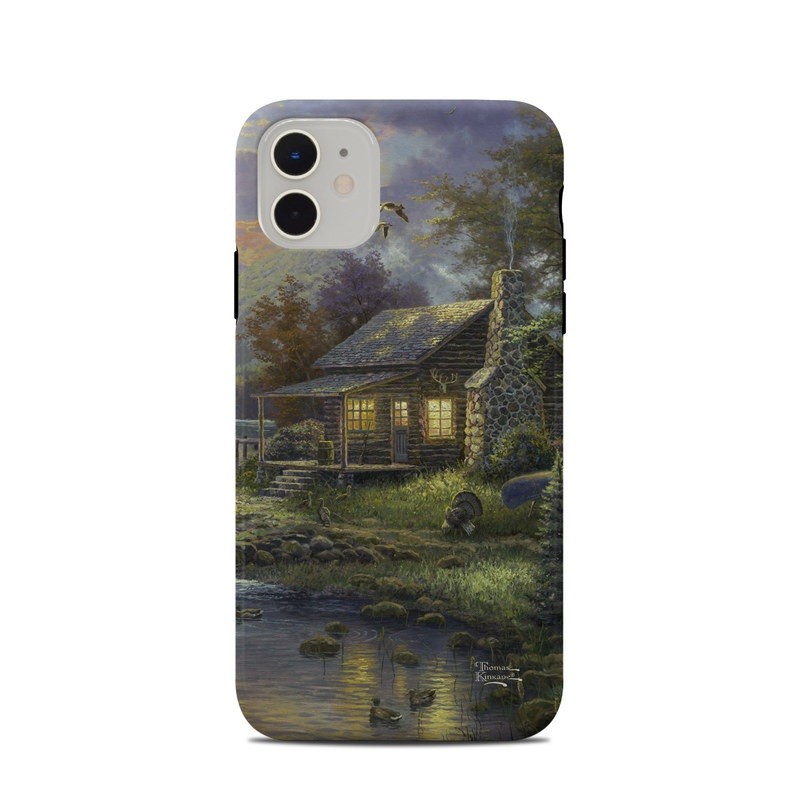 iPhone 11 Clip Case design of Nature, Painting, Natural landscape, Sky, House, Bank, Morning, Watercolor paint, Tree, Home with black, gray, green, red, blue colors