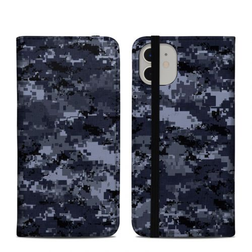 Digital Navy Camo iPhone 11 Folio Case