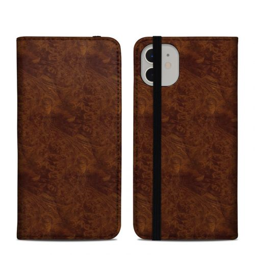 Dark Burlwood iPhone 11 Folio Case