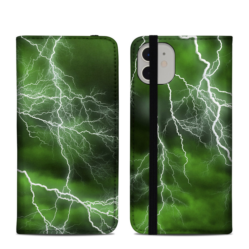 iPhone 11 Folio Case design of Thunderstorm, Thunder, Lightning, Nature, Green, Water, Sky, Atmosphere, Atmospheric phenomenon, Daytime with green, black, white colors