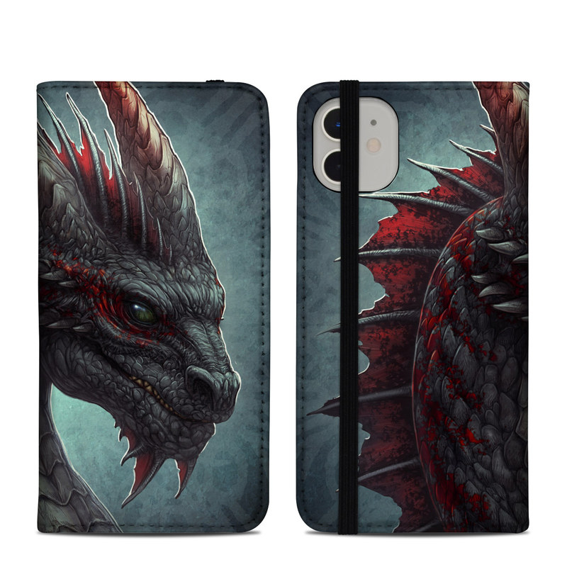 iPhone 11 Folio Case design of Dragon, Fictional character, Mythical creature, Demon, Cg artwork, Illustration, Green dragon, Supernatural creature, Cryptid with red, gray, blue colors