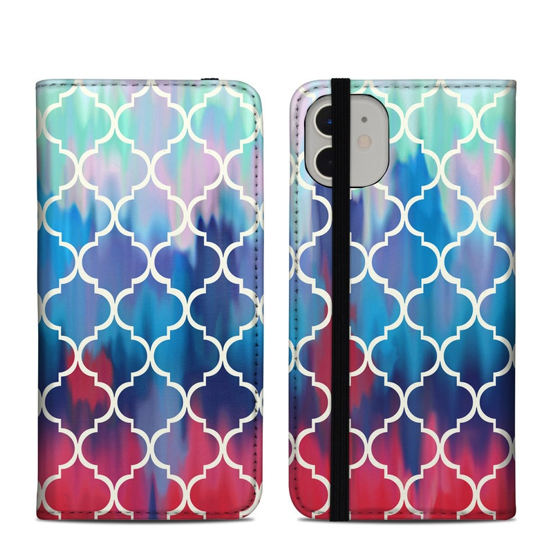 iPhone 11 Folio Case design of Blue, Pattern, Turquoise, Aqua, Teal, Line, Symmetry, Electric blue, Design, Circle with gray, blue, yellow, black, green colors