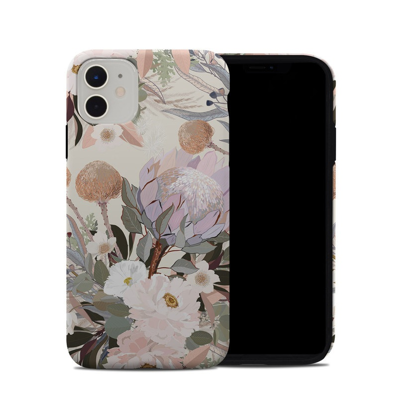 iPhone 11 Hybrid Case design of Flower, Floral design, Watercolor paint, Plant, Spring, Branch, Flower Arranging, Lilac, Floristry, Petal with pink, purple, green, brown, white, yellow, black colors