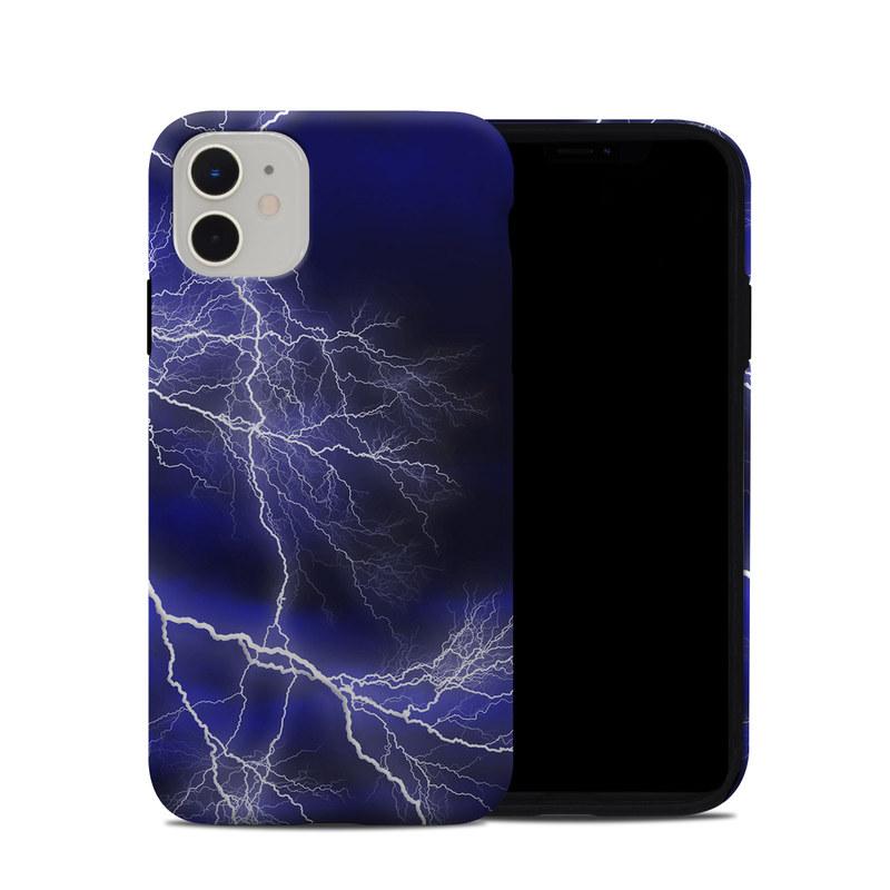 iPhone 11 Hybrid Case design of Thunder, Lightning, Thunderstorm, Sky, Nature, Electric blue, Atmosphere, Daytime, Blue, Atmospheric phenomenon with blue, black, white colors