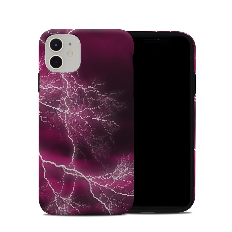 iPhone 11 Hybrid Case design of Thunder, Lightning, Thunderstorm, Sky, Nature, Purple, Red, Atmosphere, Violet, Pink with pink, black, white colors