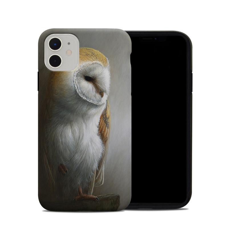 iPhone 11 Hybrid Case design of Barn owl, Owl, Bird, Bird of prey, Beak, Wildlife with yellow, white, orange, brown colors