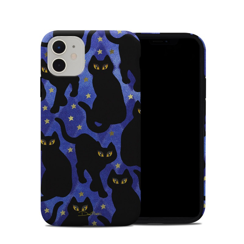 iPhone 11 Hybrid Case design of Black cat, Black, Cat, Small to medium-sized cats, Pattern, Felidae, Design, Electric blue, Illustration, Art with black, blue, purple, yellow colors