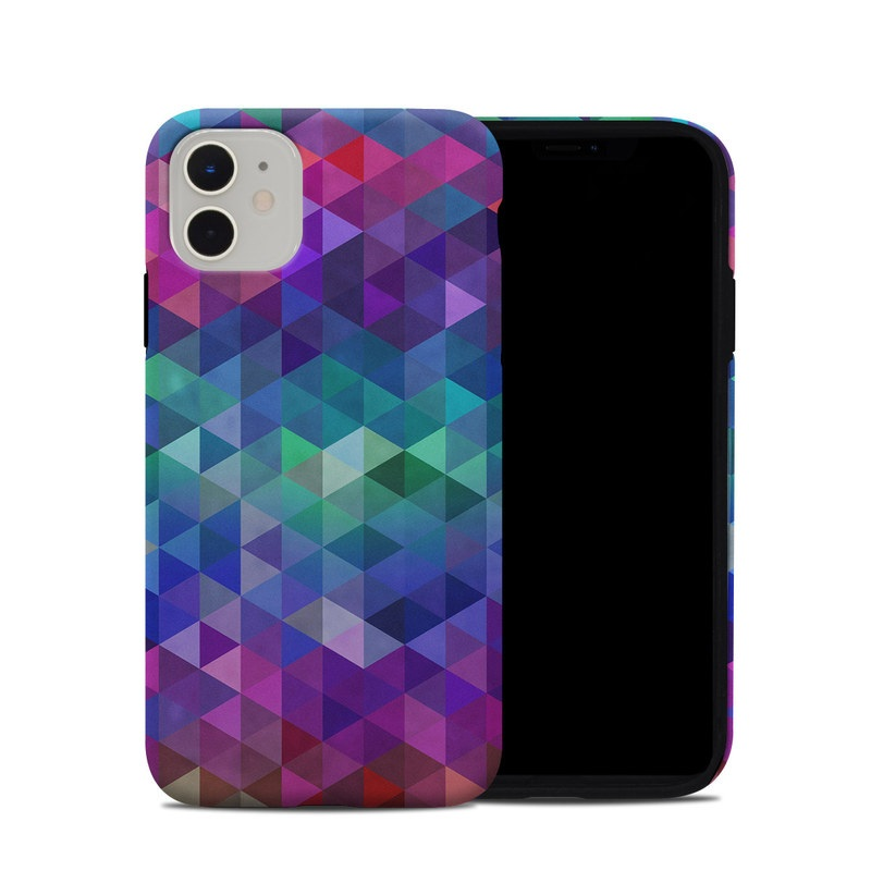 iPhone 11 Hybrid Case design of Purple, Violet, Pattern, Blue, Magenta, Triangle, Line, Design, Graphic design, Symmetry with blue, purple, green, red, pink colors