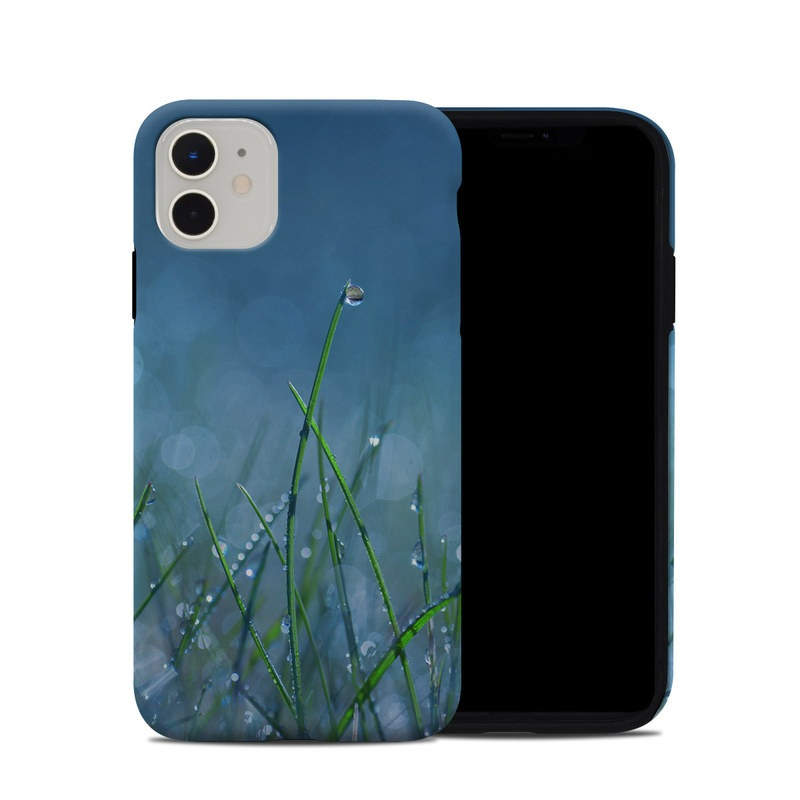 iPhone 11 Hybrid Case design of Moisture, Dew, Water, Green, Grass, Plant, Drop, Grass family, Macro photography, Close-up with blue, black, green, gray colors