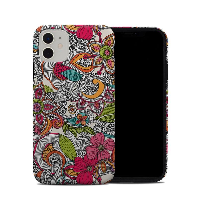 iPhone 11 Hybrid Case design of Pattern, Drawing, Visual arts, Art, Design, Doodle, Floral design, Motif, Illustration, Textile with gray, red, black, green, purple, blue colors