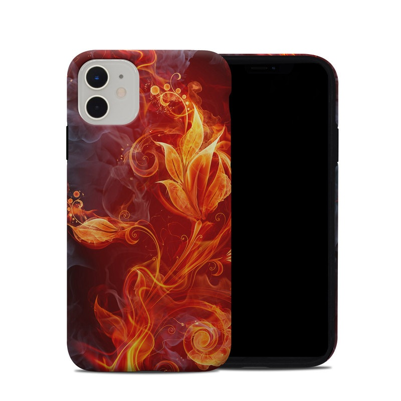 iPhone 11 Hybrid Case design of Flame, Fire, Heat, Red, Orange, Fractal art, Graphic design, Geological phenomenon, Design, Organism with black, red, orange colors