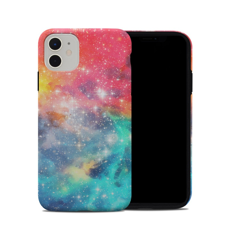 iPhone 11 Hybrid Case design of Nebula, Sky, Astronomical object, Outer space, Atmosphere, Universe, Space, Galaxy, Celestial event, Star with white, black, red, orange, yellow, blue colors