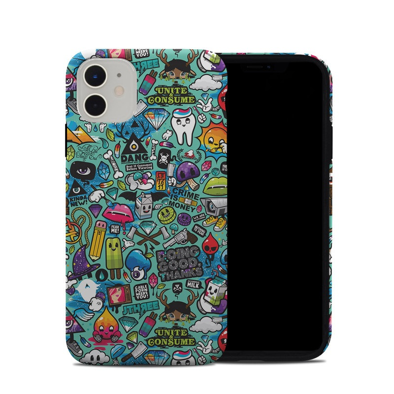 iPhone 11 Hybrid Case design of Cartoon, Art, Pattern, Design, Illustration, Visual arts, Doodle, Psychedelic art with black, blue, gray, red, green colors