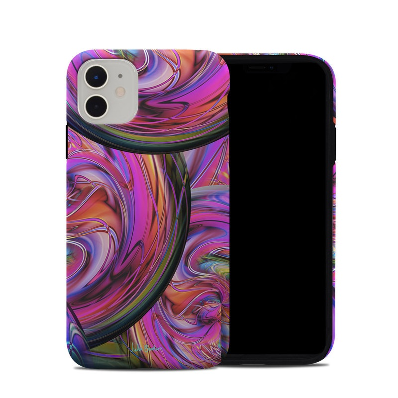 iPhone 11 Hybrid Case design of Pattern, Psychedelic art, Purple, Art, Fractal art, Design, Graphic design, Colorfulness, Textile, Visual arts with purple, black, red, gray, blue, green colors