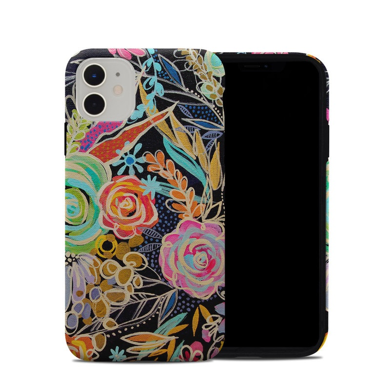 iPhone 11 Hybrid Case design of Pattern, Floral design, Design, Textile, Visual arts, Art, Graphic design, Psychedelic art, Plant with black, gray, green, red, blue colors