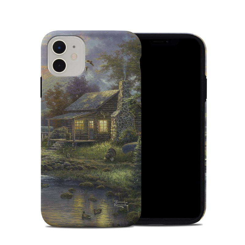 iPhone 11 Hybrid Case design of Nature, Painting, Natural landscape, Sky, House, Bank, Morning, Watercolor paint, Tree, Home with black, gray, green, red, blue colors