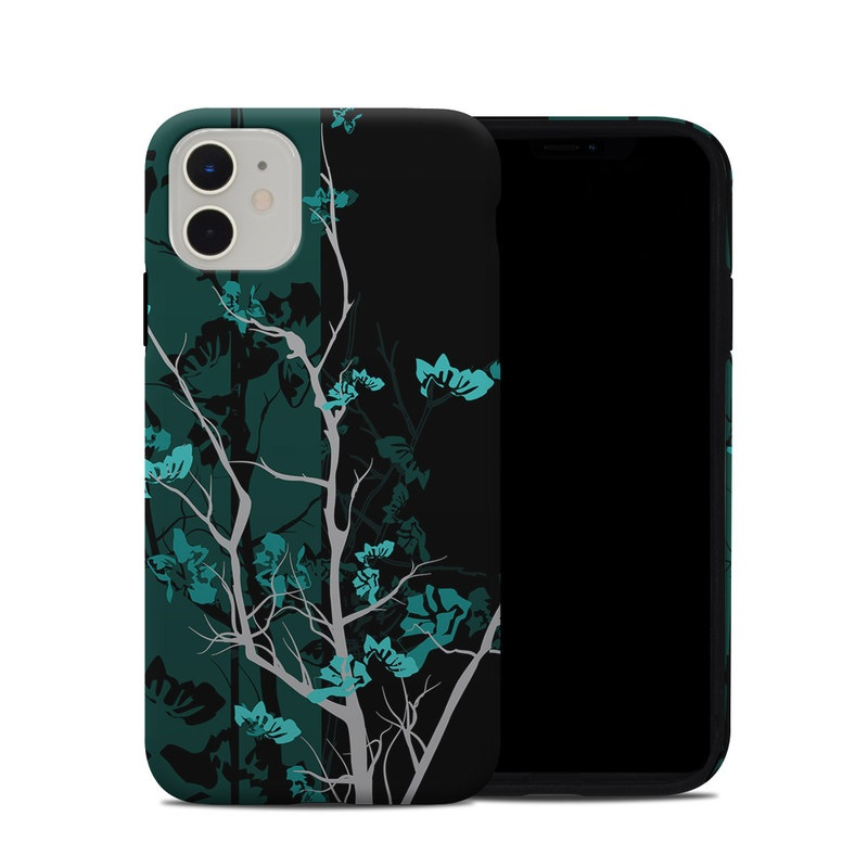 iPhone 11 Hybrid Case design of Branch, Black, Blue, Green, Turquoise, Teal, Tree, Plant, Graphic design, Twig with black, blue, gray colors