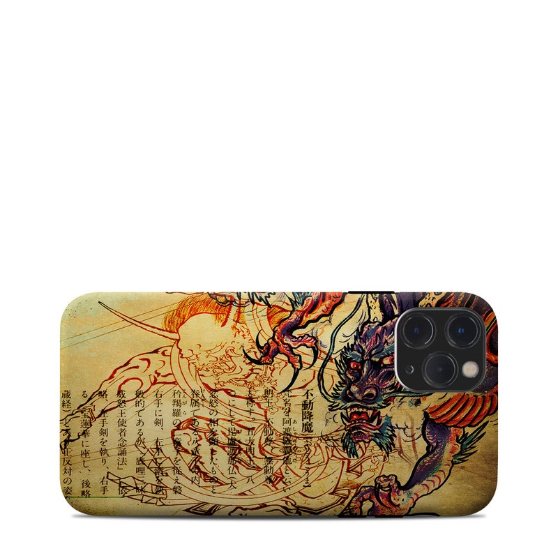 iPhone 11 Pro Clip Case design of Illustration, Fictional character, Art, Demon, Drawing, Visual arts, Dragon, Supernatural creature, Mythical creature, Mythology with black, green, red, gray, pink, orange colors
