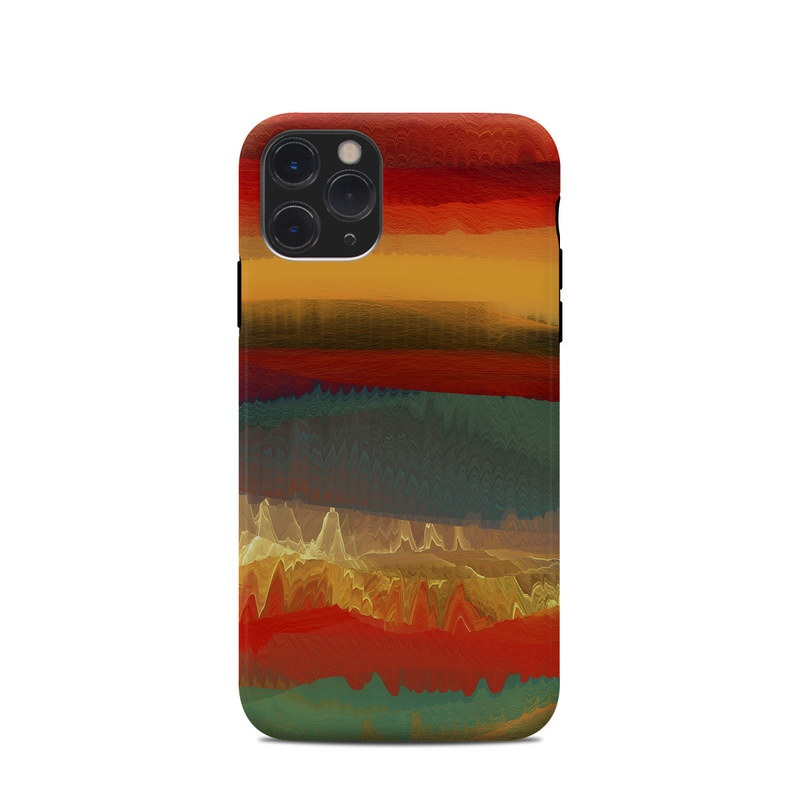 iPhone 11 Pro Clip Case design of Sky, Red, Horizon, Afterglow, Orange, Painting, Acrylic paint, Watercolor paint, Sunset, Geological phenomenon with red, blue, green, yellow, orange, white colors