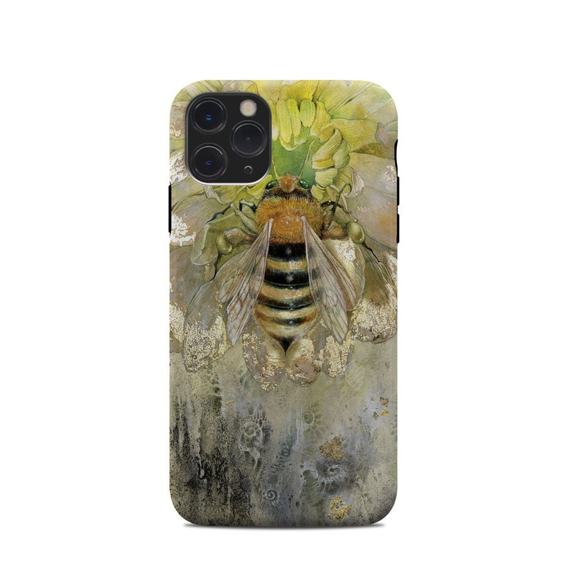 iPhone 11 Pro Clip Case design of Honeybee, Insect, Bee, Membrane-winged insect, Invertebrate, Pest, Watercolor paint, Pollinator, Illustration, Organism with yellow, orange, black, green, gray, pink colors