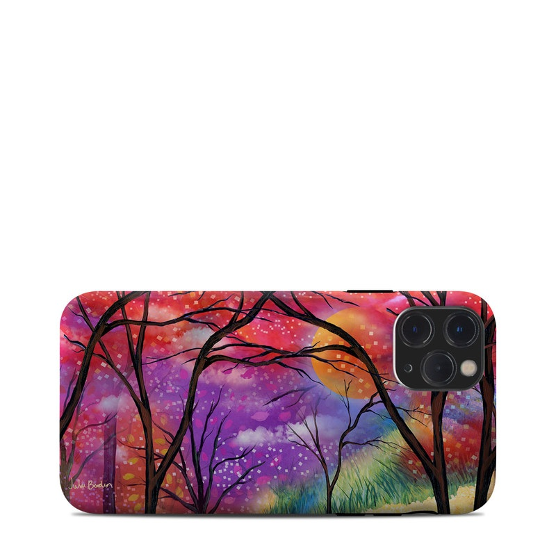 iPhone 11 Pro Clip Case design of Nature, Tree, Natural landscape, Painting, Watercolor paint, Branch, Acrylic paint, Purple, Modern art, Leaf with red, purple, black, gray, green, blue colors