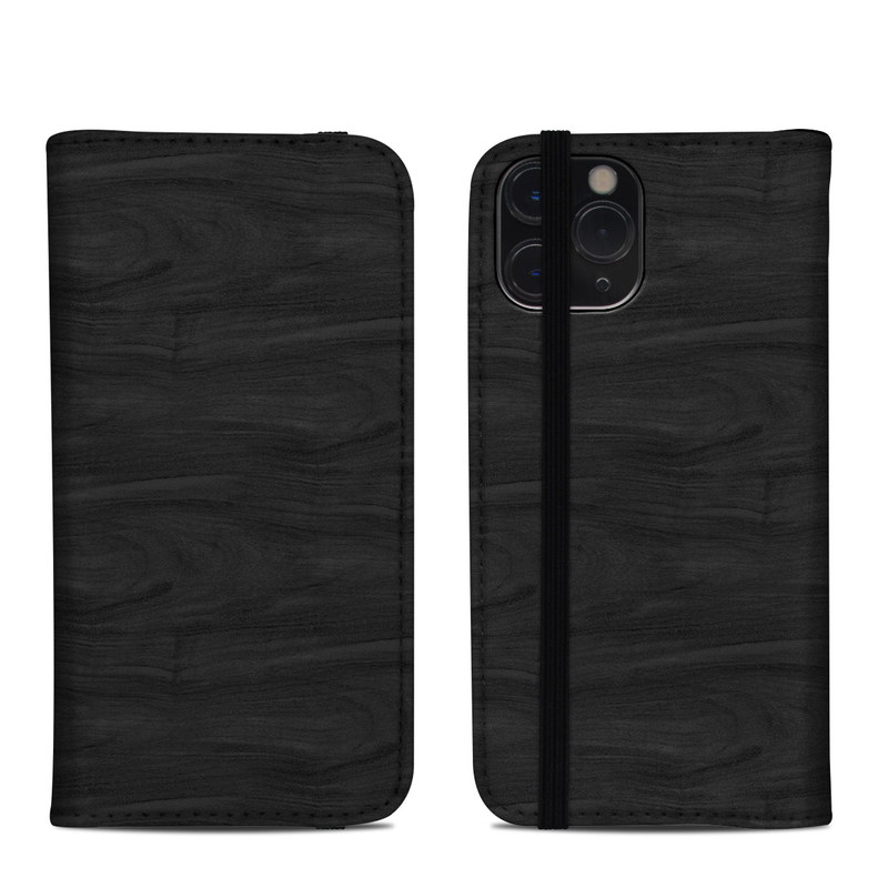 iPhone 11 Pro Folio Case design of Black, Brown, Wood, Grey, Flooring, Floor, Laminate flooring, Wood flooring with black colors