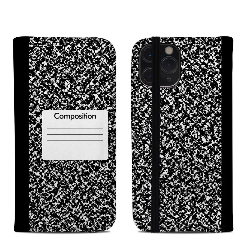 iPhone 11 Pro Folio Case design of Text, Font, Line, Pattern, Black-and-white, Illustration with black, gray, white colors