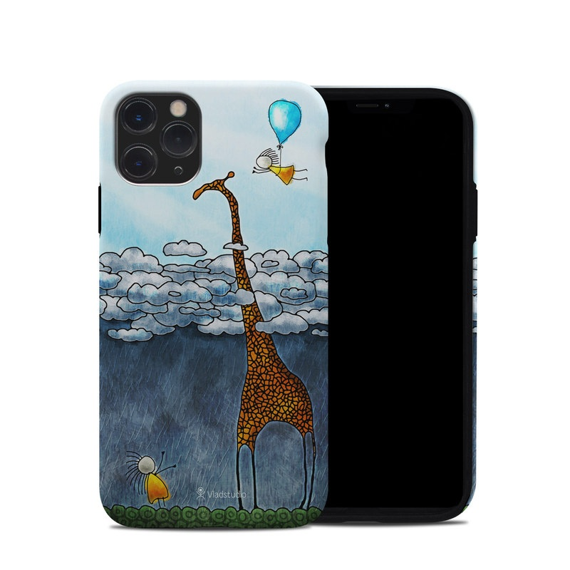 iPhone 11 Pro Hybrid Case design of Giraffe, Sky, Tree, Water, Branch, Giraffidae, Illustration, Cloud, Grassland, Bird with blue, gray, yellow, green colors
