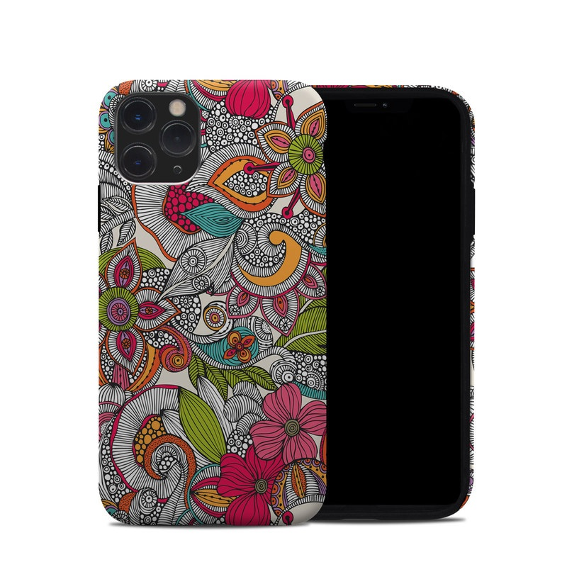 iPhone 11 Pro Hybrid Case design of Pattern, Drawing, Visual arts, Art, Design, Doodle, Floral design, Motif, Illustration, Textile with gray, red, black, green, purple, blue colors