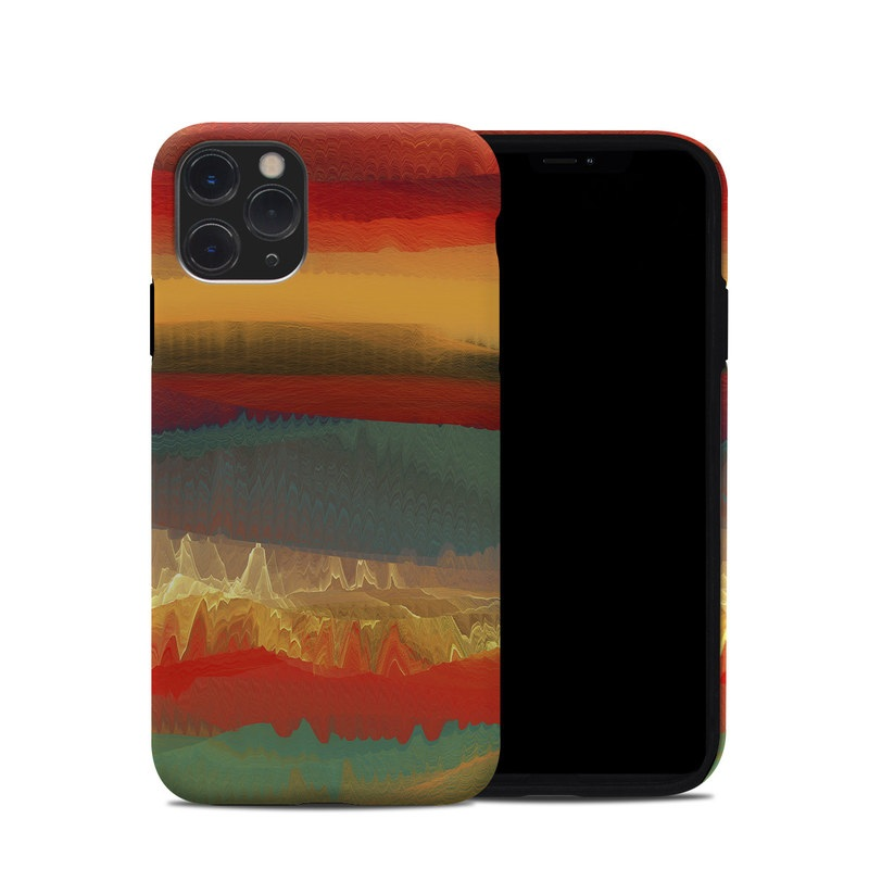 iPhone 11 Pro Hybrid Case design of Sky, Red, Horizon, Afterglow, Orange, Painting, Acrylic paint, Watercolor paint, Sunset, Geological phenomenon with red, blue, green, yellow, orange, white colors