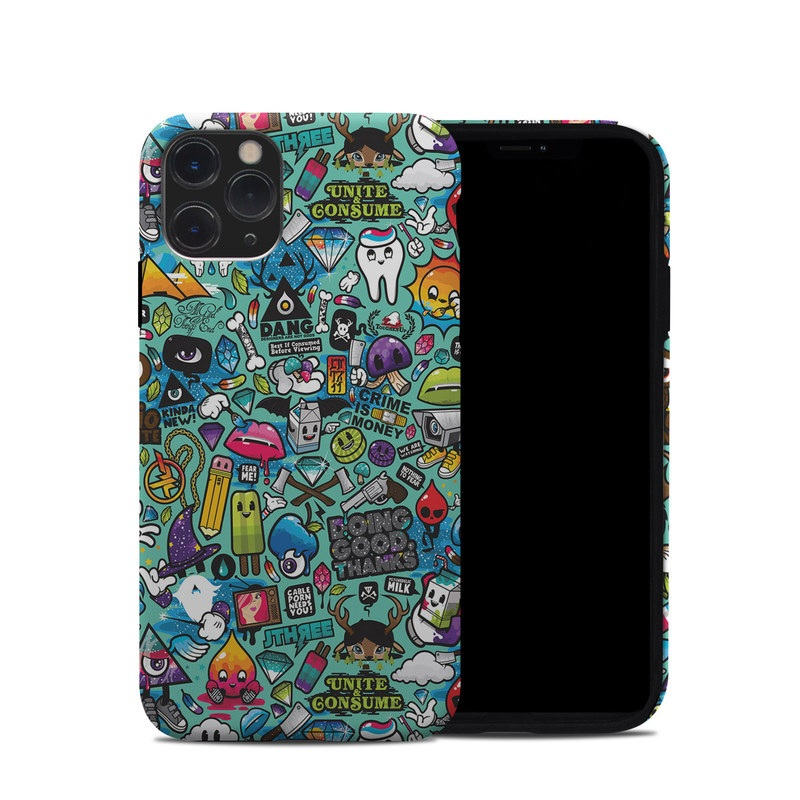 iPhone 11 Pro Hybrid Case design of Cartoon, Art, Pattern, Design, Illustration, Visual arts, Doodle, Psychedelic art with black, blue, gray, red, green colors