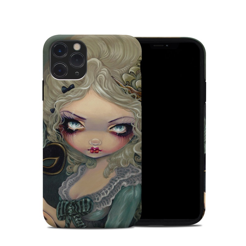 iPhone 11 Pro Hybrid Case design of Face, Hair, Doll, Head, Illustration, Cheek, Close-up, Art, Lip, Eyelash with black, gray, green, red, pink colors
