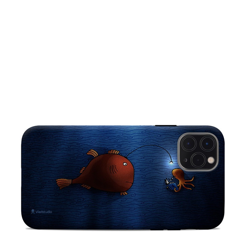 iPhone 11 Pro Max Clip Case design of Deep sea fish, Anglerfish, Illustration, Fish, Animation, Art with blue, red colors