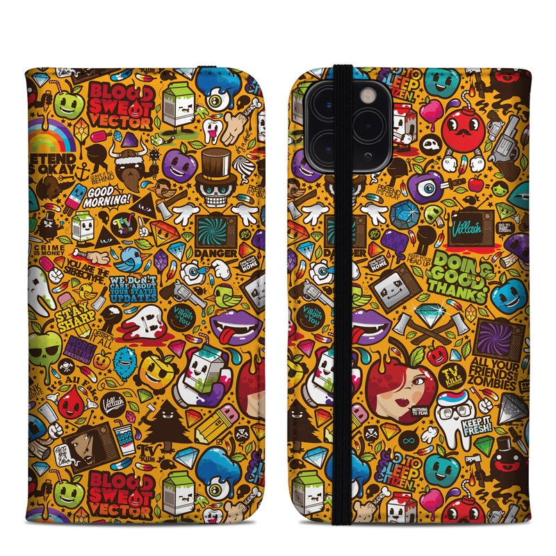 iPhone 11 Pro Max Folio Case design of Pattern, Psychedelic art, Visual arts, Art, Design, Illustration, Graphic design, Doodle with black, green, red, gray, orange, blue colors