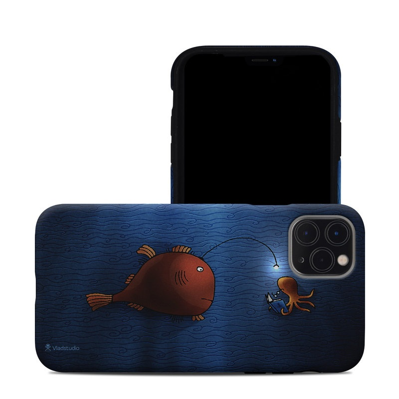 iPhone 11 Pro Max Hybrid Case design of Deep sea fish, Anglerfish, Illustration, Fish, Animation, Art with blue, red colors