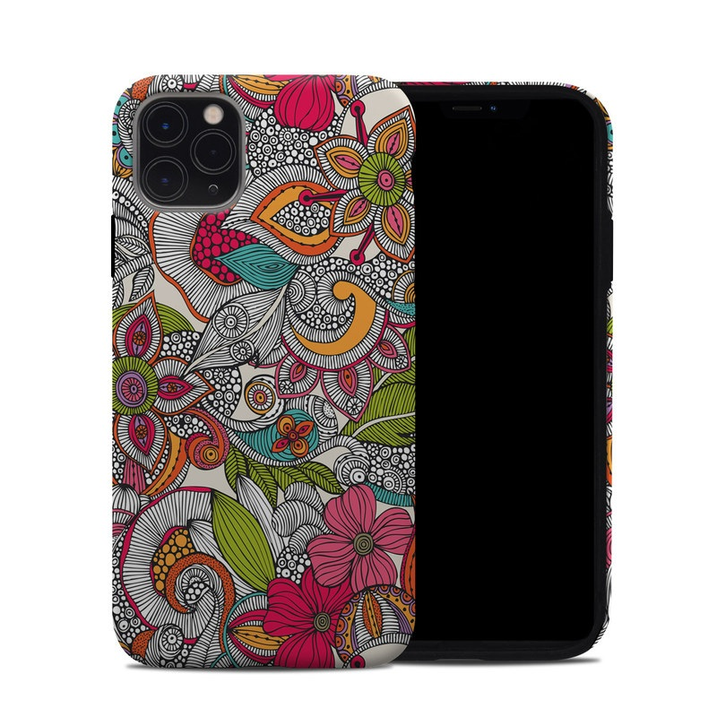 iPhone 11 Pro Max Hybrid Case design of Pattern, Drawing, Visual arts, Art, Design, Doodle, Floral design, Motif, Illustration, Textile with gray, red, black, green, purple, blue colors
