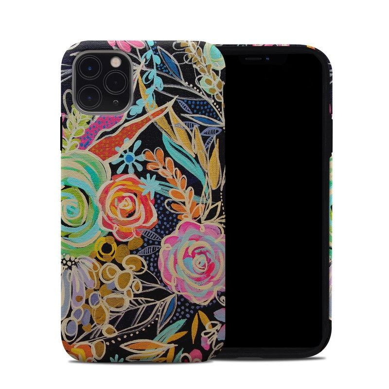 iPhone 11 Pro Max Hybrid Case design of Pattern, Floral design, Design, Textile, Visual arts, Art, Graphic design, Psychedelic art, Plant with black, gray, green, red, blue colors