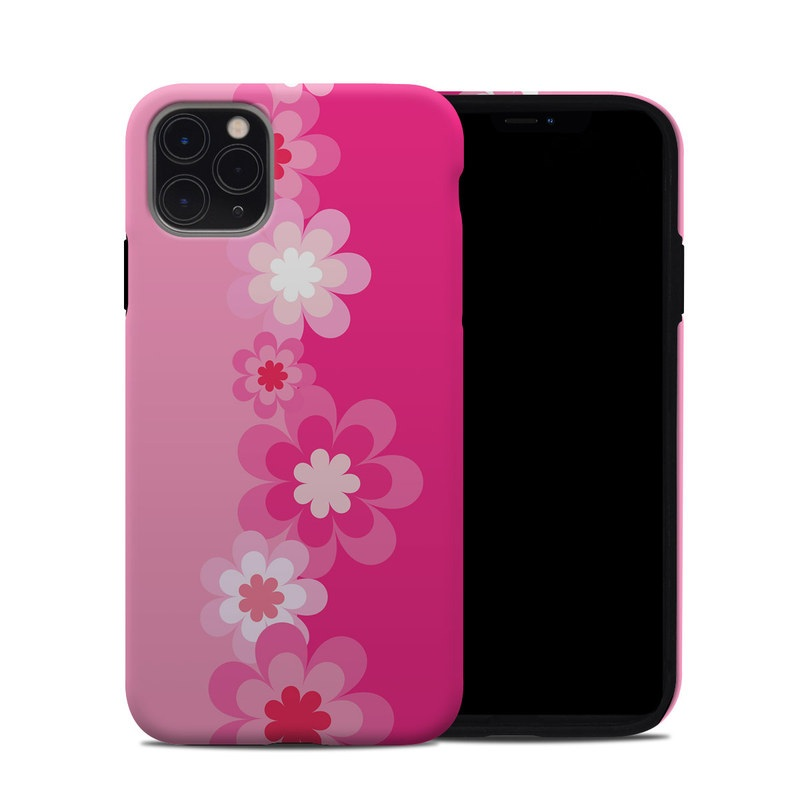iPhone 11 Pro Max Hybrid Case design of Pink, Flower, Pattern, Magenta, Plant, Blossom, Cherry blossom, Petal, Floral design, Illustration with pink, white colors