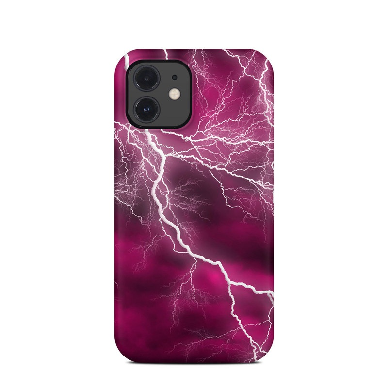 iPhone 12 Clip Case design of Thunder, Lightning, Thunderstorm, Sky, Nature, Purple, Red, Atmosphere, Violet, Pink with pink, black, white colors