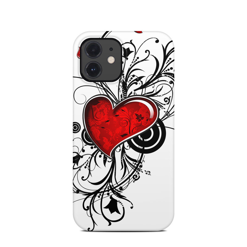 iPhone 12 Clip Case design of Heart, Line art, Love, Clip art, Plant, Graphic design, Illustration with white, gray, black, red colors