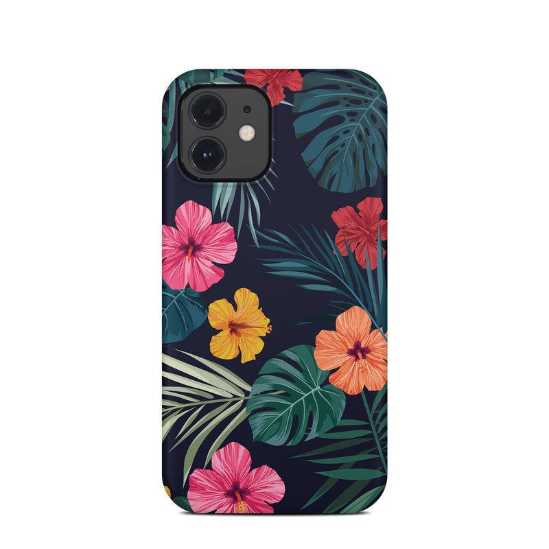 iPhone 12 Clip Case design of Hawaiian hibiscus, Flower, Pattern, Plant, Leaf, Floral design, Botany, Design, Hibiscus, Petal with black, green, red, pink, orange, yellow, white colors