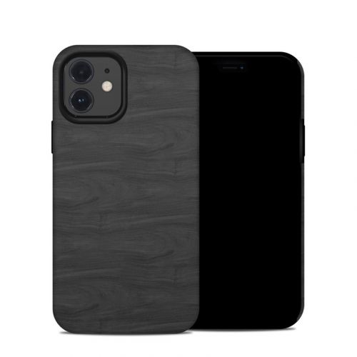 Black Woodgrain iPhone 12 Hybrid Case