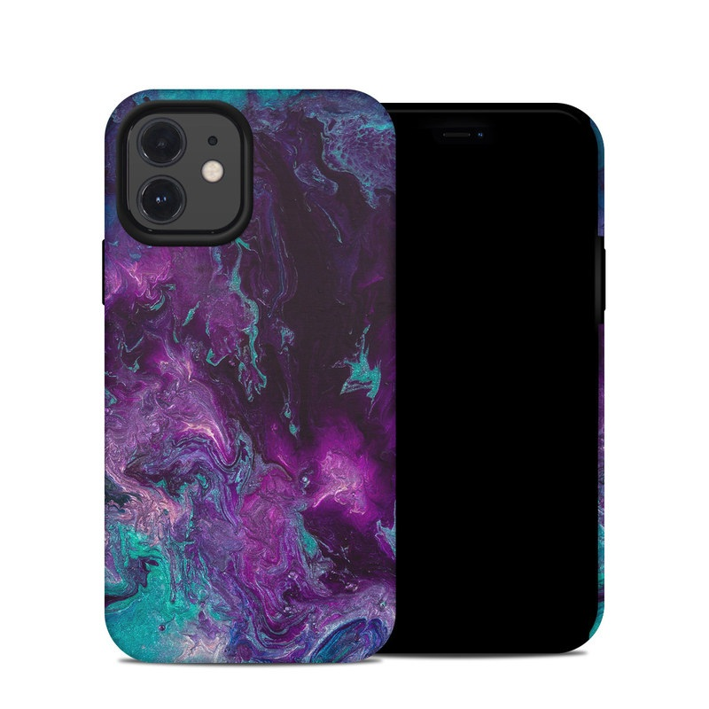 iPhone 12 Hybrid Case design of Blue, Purple, Violet, Water, Turquoise, Aqua, Pink, Magenta, Teal, Electric blue with blue, purple, black colors