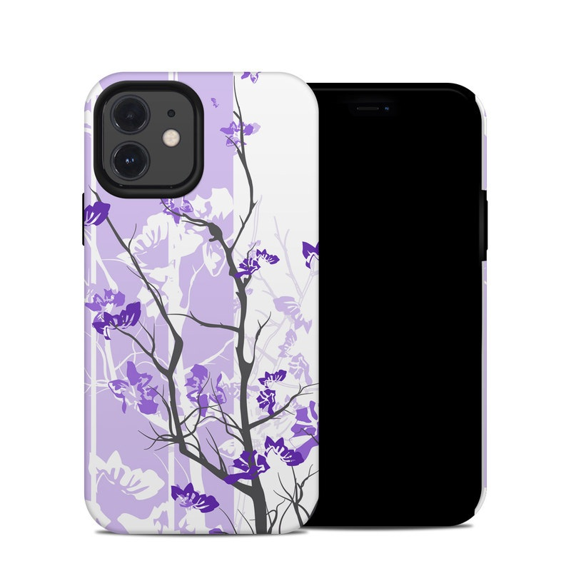 iPhone 12 Hybrid Case design of Branch, Purple, Violet, Lilac, Lavender, Plant, Twig, Flower, Tree, Wildflower with white, purple, gray, pink, black colors