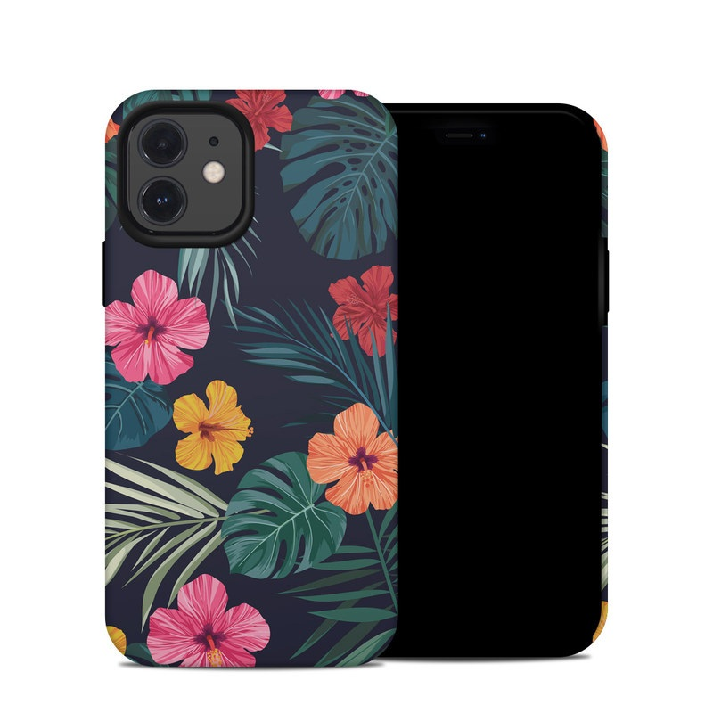 iPhone 12 Hybrid Case design of Hawaiian hibiscus, Flower, Pattern, Plant, Leaf, Floral design, Botany, Design, Hibiscus, Petal with black, green, red, pink, orange, yellow, white colors