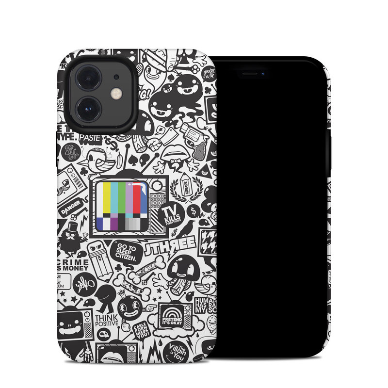 iPhone 12 Hybrid Case design of Pattern, Drawing, Doodle, Design, Visual arts, Font, Black-and-white, Monochrome, Illustration, Art with gray, black, white colors