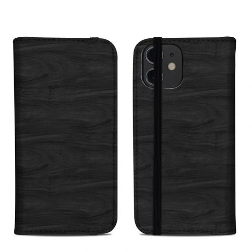 Black Woodgrain iPhone 12 mini Folio Case